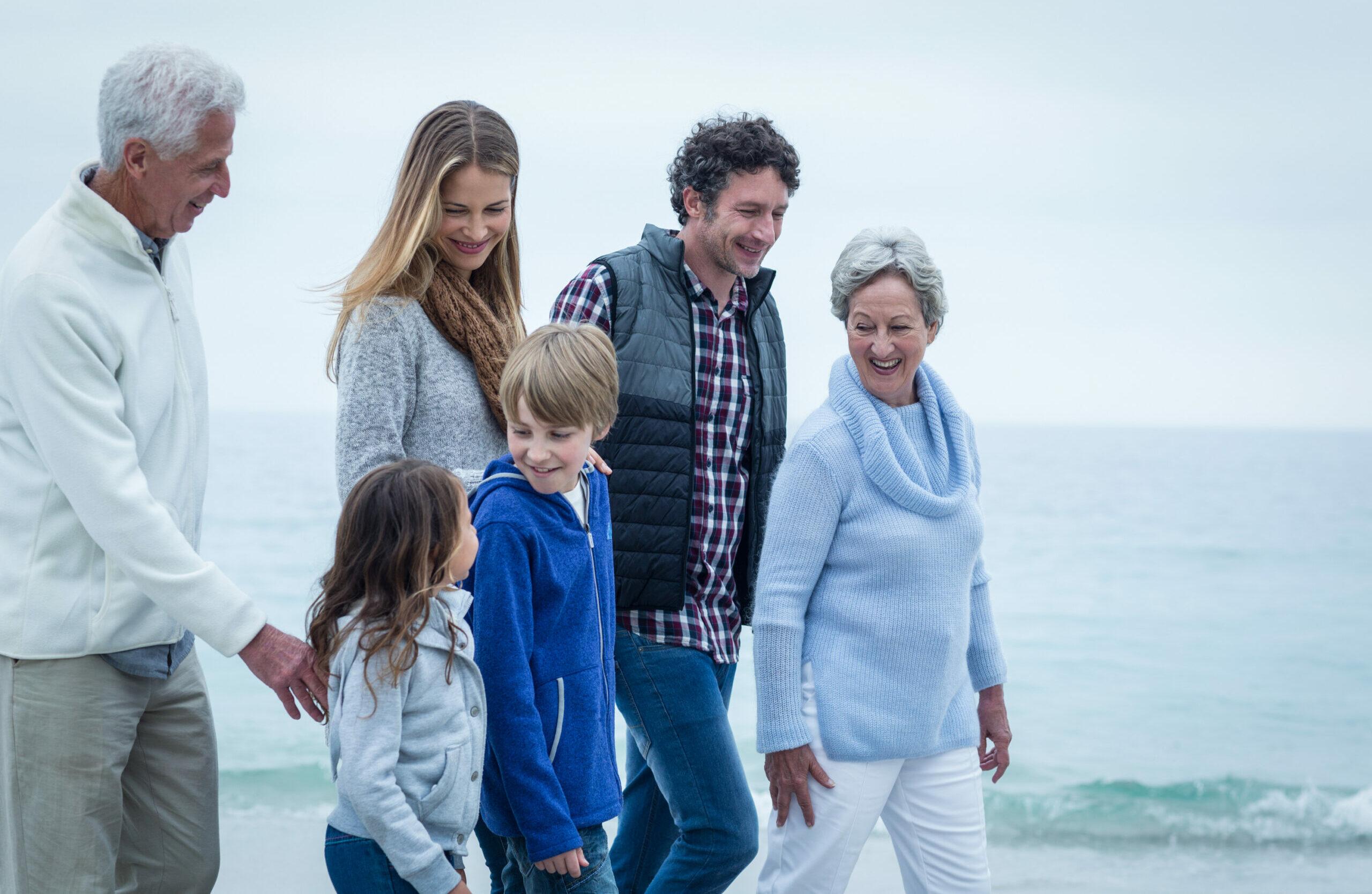 Family on beachfront